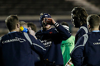 Luke Frost of London Scottish warms up during the Greene King IPA Championship match between London Scottish Football Club and Nottingham Rugby at Richmond Athletic Ground, Richmond, United Kingdom on 7 February 2020. Photo by Carlton Myrie.