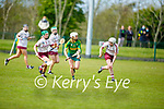 Kerry's Patrice Diggins ready to shoot as pressure comes from Galways Laura Ward and Lisa Casserly in the National Camogie league in Lixnaw on Saturday.