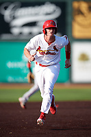Johnson City Cardinals first baseman Kevin Woodall (34) runs the bases during a game against the Danville Braves on July 29, 2018 at TVA Credit Union Ballpark in Johnson City, Tennessee.  Johnson City defeated Danville 8-1.  (Mike Janes/Four Seam Images)