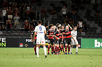 10th February 2021; Bankwest Stadium, Parramatta, New South Wales, Australia; A League Football, Western Sydney Wanderers versus Melbourne Victory; the Wanderers celebrate after Graham Dorrans of Western Sydney Wanderers scores from the penalty spot in the 72nd minute to make it 1-0