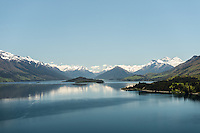 Lake Wakatipu with Southern Alps of Mount Aspiring National Park in background, UNESCO World Heritage Area, Southland, New Zealand, NZ