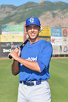 Michael Ahmed (14) of the Ogden Raptors poses for a photo during media day on June 14, 2014 at Lindquist Field in Ogden, Utah. (Stephen Smith/Four Seam Images)