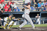 Central Michigan Chippewas first baseman Nick Stokowski (15) follows through on his swing against the Michigan Wolverines on May 9, 2017 at Ray Fisher Stadium in Ann Arbor, Michigan. Michigan defeated Central Michigan 4-2. (Andrew Woolley/Four Seam Images)