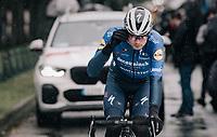 Kasper Asgreen (DEN/Deceuninck - Quick Step) at the race start in Compiègne<br /> <br /> 118th Paris-Roubaix 2021 (1.UWT)<br /> One day race from Compiègne to Roubaix (FRA) (257.7km)<br /> <br /> ©kramon