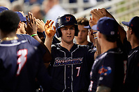 Jacksonville Jumbo Shrimp left fielder Brian Miller (7) high fives with his teammates in the dugout during a game against the Pensacola Blue Wahoos on August 15, 2018 at Blue Wahoos Stadium in Pensacola, Florida.  Jacksonville defeated Pensacola 9-2.  (Mike Janes/Four Seam Images)