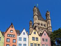 Fischmarkt, Kirche Groß St. Martin, Köln, Nordrhein-Westfalen, Deutschland, Europa<br /> Fischmarkt, Church Groß St. Martin, Cologne, North Rhine-Westphalian, Germany, Europe