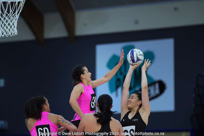 Saviour Tui shoots for goal during the Cadbury Netball Series match between NZ A and NZ Under-21 at the Fly Palmy Arena in Palmerston North, New Zealand on Thursday, 22 October 2020. Photo: Dave Lintott / lintottphoto.co.nz