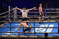 Micky Burke (black shorts) defeats Paul Cummings during a Boxing Show at the SSE Arena on 24th July 2021