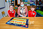 Derryquay NS students in the class room with their teacher Amy Horgan .