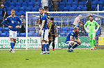 St Johnstone v Motherwell…08.08.21  McDiarmid Park<br />Frustrated saints players at full time after conceeding a late equaliser<br />Picture by Graeme Hart.<br />Copyright Perthshire Picture Agency<br />Tel: 01738 623350  Mobile: 07990 594431