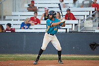 Wade Chandler (19) (UNC Asheville) of the Mooresville Spinners at bat against the Lake Norman Copperheads at Moor Park on July 6, 2020 in Mooresville, NC.  The Spinners defeated the Copperheads 3-2. (Brian Westerholt/Four Seam Images)
