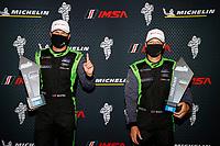 Winners #39 CarBahn with Peregrine racing Audi R8 GT4, GS: Tyler McQuarrie, Jeff Westphal, podium