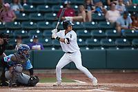 Brandon Bossard (13) of the Winston-Salem Dash at bat against the Hickory Crawdads at Truist Stadium on July 10, 2021 in Winston-Salem, North Carolina. (Brian Westerholt/Four Seam Images)