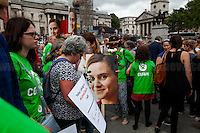 London, 22/06/2016. Today, thousands of people gathered in Trafalgar Square to celebrate the life Jo Cox, the Labour Member of Parliament who was brutally killed by the far-right extremist Thomas Mair on the 16th of June 2016. From the organisers Facebook page: <<[…] We will gather together in Trafalgar Square to celebrate Jo's warmth, love, energy, passion, flair, Yorkshire heritage, and belief in the humanity of every person in every place, from Batley and Spen to Aleppo and Darayya. Jo believed that there is more that unites us than divides us, and she was killed for those beliefs. She believed in a love that is fierce, brave and humble. Her death has devastated a family, and attacked the ideals that we as a nation most cherish. But we will not be divided. We will rise up together to carry Jo's message forward. We will meet hate with love. On the day Jo would have been 42, we are asking everyone, everywhere to love like Jo loved. Jo's legacy is a direct challenge to everyone here, to take part, speak up and be a voice for the voiceless, to treat even those we disagree with with tolerance and genuine respect. Let's honour Jo on Wednesday by carrying forward the message that she now symbolises around the world - that we have #moreincommon than that which divides us.>>.<br /> <br /> For more information about the event please click here: https://www.facebook.com/events/1369130213102106/<br /> <br /> For more information about the death of Jo Cox please click here: https://en.wikipedia.org/wiki/Death_of_Jo_Cox & http://www.bbc.co.uk/news/uk-england-36550304