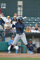 Wilmington Blue Rocks infielder D.J. Burt (3) at bat during a game against the Myrtle Beach Pelicans at Ticketreturn Field at Pelicans Ballpark on April 26, 2017 in Myrtle Beach, South Carolina. Myrtle Beach defeated Wilmington 7-3. (Robert Gurganus/Four Seam Images)