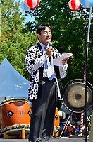 Fetes Gourmandes 2011, au Musee Pointe-a-Calliere.<br /> <br /> Montreal (Qc) CANADA - August 13, 2011 - Monsieur Takanari Kakuda, Consul-Général Adjoint du Japon s'adressa en premier à la foule <br /> afin de remercier tous les dignitaires présents, les bénévoles pour leurs efforts ainsi que l'association de Commerce et Industrie Japonaise ''shokokai''.