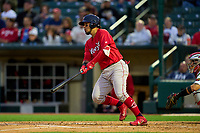 Worcester Red Sox Jhonny Pereda (28) bats during a game against the Rochester Red Wings on September 2, 2021 at Frontier Field in Rochester, New York.  (Mike Janes/Four Seam Images)