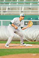 Matt Olson (21) of the Beloit Snappers waits for a throw at first base during the Midwest League game against the Lansing Lugnuts at Cooley Law School Stadium on May 5, 2013 in Lansing, Michigan.  The Lugnuts defeated the Snappers 5-4.  (Brian Westerholt/Four Seam Images)