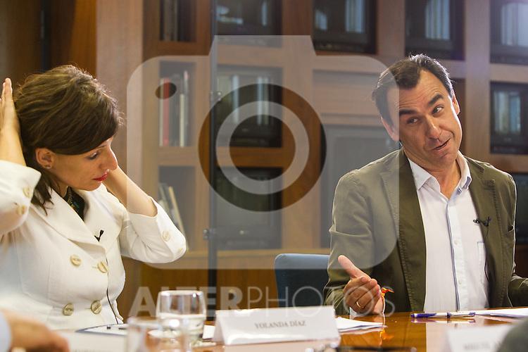 Yolanda Diaz of Unidos Podemos and Fernando Martinez Maillo of Partido Popular during the debate on agreements with representatives of the four major political forces at the headquarters of the newspaper La Razon . 19,06,2016. (ALTERPHOTOS/Rodrigo Jimenez)