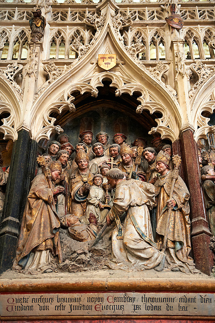 Gothic sculptures (1530 ) depicting scenes from the life of St Firmin (3rd century), Cathedral of Notre-Dame, Amiens, France