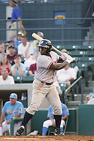 Potomac Nationals outfielder Michael Burgess at bat during a game vs. the Myrtle Beach Pelicans at BB&T Coastal Field in Myrtle Beach, SC, on June 15, 2010.  Photo By Robert Gurganus/Four Seam Images