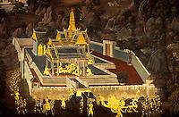 Thailand. Bangkok. Wat Phra Keo. Mural depicting the Ramayana epic.