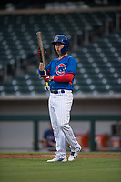 AZL Cubs 2 left fielder Carlos Pacheco (28) during an Arizona League game against the AZL Rangers at Sloan Park on July 7, 2018 in Mesa, Arizona. AZL Rangers defeated AZL Cubs 2 11-2. (Zachary Lucy/Four Seam Images)