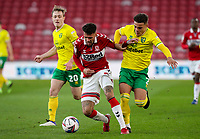 Middlesbrough's Marvin Johnson holds off the challenge from Norwich City's Max Aarons<br /> <br /> Photographer Alex Dodd/CameraSport<br /> <br /> The EFL Sky Bet Championship - Middlesbrough v Norwich City - Saturday 21st November 2020 - Riverside Stadium - Middlesbrough<br /> <br /> World Copyright © 2020 CameraSport. All rights reserved. 43 Linden Ave. Countesthorpe. Leicester. England. LE8 5PG - Tel: +44 (0) 116 277 4147 - admin@camerasport.com - www.camerasport.com