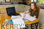 Castleisland Comm College first year student Blaithin O'Mahony studying at home in Castleisland on line with the Community College study web site on Tuesday.