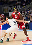 Real Madrid and Crvena Zvezda Telekom during Euroligue Basketball at Barclaycard Center in Madrid, October 22, 2015<br /> Maciulis and Schortsanitis.<br /> (ALTERPHOTOS/BorjaB.Hojas)