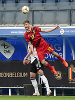 Belgium's Alexis Saelemaekers (22) heads the ball during a soccer game between the national teams Under21 Youth teams of Belgium and Germany on the 5th matday in group 9 for the qualification for the Under 21 EURO 2021 , on tuesday 8 th of September 2020  in Leuven , Belgium . PHOTO SPORTPIX.BE   SPP   SEVIL OKTEM