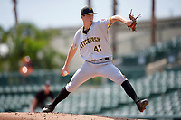 Pittsburgh Pirates pitcher Travis MacGregor (41) delivers a pitch during an Instructional League game against the Baltimore Orioles on September 27, 2017 at Ed Smith Stadium in Sarasota, Florida.  (Mike Janes/Four Seam Images)