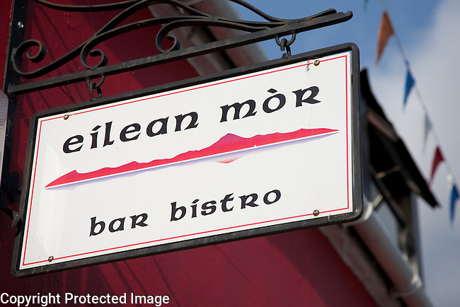 Eilean Mor Bar Sign on the Isle of Arran, Scotland