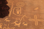 Ancient rock art of Nevada within Valley of Fire State Park (panel at Atlatl Rock-sheep and curvilinear design)