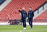 St Johnstone v Hibs…22.05.21  Scottish Cup Final Hampden Park<br />Saints players Chris Kane and Scott Tanser on the pitch shortly after arriving at Hamden Park<br />Picture by Graeme Hart.<br />Copyright Perthshire Picture Agency<br />Tel: 01738 623350  Mobile: 07990 594431