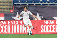 FOXBOROUGH, MA - SEPTEMBER 1: Noah Franke #15 of FC Tucson passes the ball during a game between FC Tucson and New England Revolution II at Gillette Stadium on September 1, 2021 in Foxborough, Massachusetts.