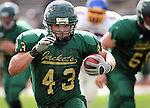 SPEARFISH SD -- OCTOBER 4 -- Clint Nicholes #43 of Black Hills State runs for a big gain in the first half of their game against Dakota State Saturday at Lyle Hare Stadium in Spearfish, S.D. (Photo by Dick Carlson/Inertia)