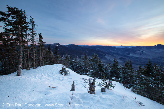 January 2015 - Sunrise from the summit of Mount Tecumseh in Waterville Valley, New Hampshire. This picturesque view came at a price and is the result of trees being illegally cut down. Forest Service has stated the cutting on Tecumseh is illegal and if they are able to determine the responsible party they will be held accountable.