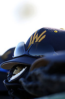 February 26, 2010:  West Virginia Moutaineers hat during the Big East/Big 10 Challenge at Bright House Field in Clearwater, FL.  Photo By Mike Janes/Four Seam Images
