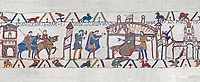 Bayeux Tapestry scene 25: Harold reports to Edward thr Confessor about his mission to see Williams in Normandy. BYX25