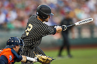 Vanderbilt Commodores second baseman Tyler Campbell (2) swings the bat during the NCAA College baseball World Series against the Cal State Fullerton Titans on June 14, 2015 at TD Ameritrade Park in Omaha, Nebraska. The Titans were leading 3-0 in the bottom of the sixth inning when the game was suspended by rain. (Andrew Woolley/Four Seam Images)