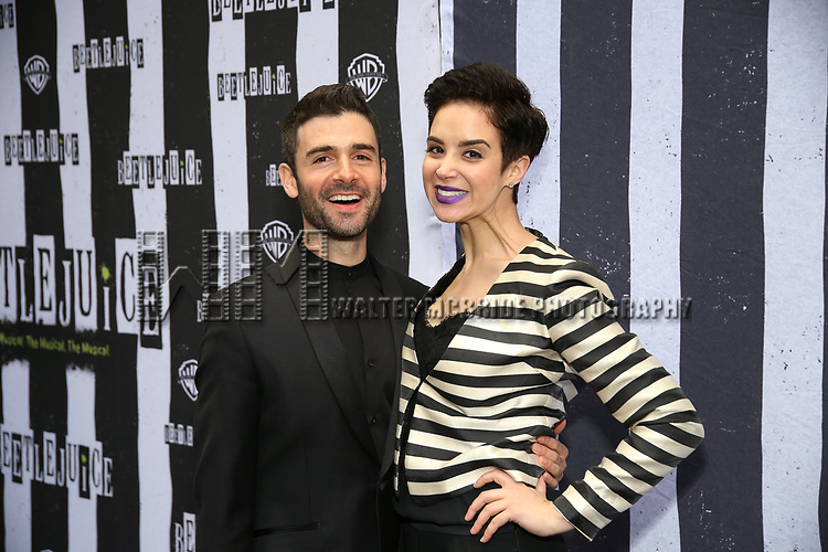 """Adan Kantor and Alexandra Silber attends the Broadway Opening Night Performance for """"Beetlejuice"""" at The Wintergarden on April 25, 2019  in New York City."""