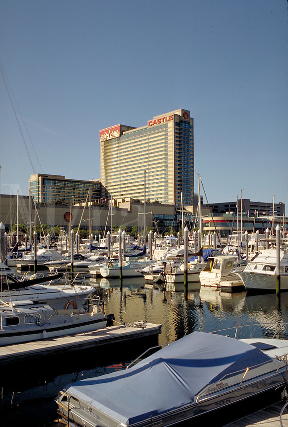 Trumps Castle Hotel & Casino seen from Farley Marina in Atlantic City, New Jersey. Gambling, marinas, boats, sailboats,. Atlantic City New Jersey.