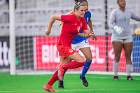 ORLANDO, FL - FEBRUARY 24: Shelina Zadorsky #4 of the CANWNT defends during a game between Brazil and Canada at Exploria Stadium on February 24, 2021 in Orlando, Florida.
