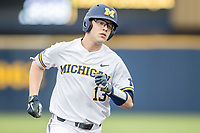 Michigan Wolverines designated hitter Dominic Clementi (13) jogs around the bases after his first inning home run against the Maryland Terrapins on April 13, 2018 in a Big Ten NCAA baseball game at Ray Fisher Stadium in Ann Arbor, Michigan. Michigan defeated Maryland 10-4. (Andrew Woolley/Four Seam Images)