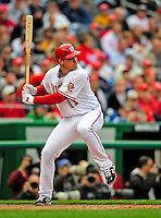 13 April 2009: Washington Nationals' third baseman Ryan Zimmerman at bat in the 9th inning against the Philadelphia Phillies during the Nats' Home Opener at Nationals Park in Washington, DC. The Nats fell short in their 9th inning rally, losing 9-8, and marking their 7th consecutive loss of the 2009 season. Mandatory Credit: Ed Wolfstein Photo