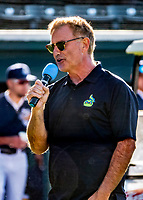 29 May 2021: Vermont Lake Monsters new President and Chief Operating Officer Chris English, welcomes the fans prior to a game against the Norwich Sea Unicorns at Centennial Field in Burlington, Vermont. The Lake Monsters defeated the Unicorns 6-3 in their FCBL Home Opener, the first home game played at Centennial Field post-Covid-19 pandemic. Mandatory Credit: Ed Wolfstein Photo *** RAW (NEF) Image File Available ***
