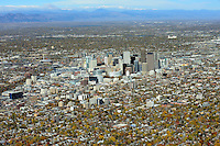 Downtown Denver aerial in fall.  Oct 31, 2013