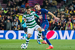 Bruno Fernandes (l) of Sporting CP battles for the ball with Thomas Vermaelen of FC Barcelona during the UEFA Champions League 2017-18 match between FC Barcelona and Sporting CP at Camp Nou on 05 December 2017 in Barcelona, Spain. Photo by Vicens Gimenez / Power Sport Images