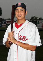 Lowell Spinners infielder James Kang (38) poses for a photo in a Boston Red Sox uniform during a rain delay at Falcon Park in Auburn, New York August 9, 2010.  Kang was selected in the 2010 MLB Draft by the Red Sox in the 45th round (1373rd overall) out of Pomona-Pitzer (CA).  The game between the Lowell Spinners and Auburn Doubledays was cancelled due to rain.  Photo By Mike Janes/Four Seam Images